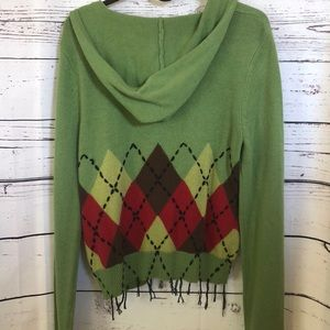 CAbi Sweaters - CABI green argyle hoodie zip-up cardigan sweater